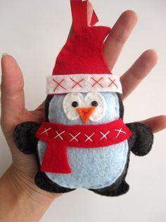 Penguin Christmas Ornament, Felt Penguin Christmas Ornament - FREE SHIPPING - christmas in july. $11.50, via Etsy.