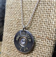 "Bullet Necklace! 12 Gauge Silver Shell with Clear Crystal on 16"" Sterling Silver Mini Ball Chain Necklace by Spent Rounds Designs! We're in Georgia and hand make everything in the shop! Check out all this bullet jewelry! Shotgun Shell Jewelry 