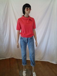 Vintage 60's Short Sleeve Red Sweater by BambieJonesVintage on Etsy https://www.etsy.com/listing/190612752/vintage-60s-short-sleeve-red-sweater