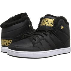 Osiris Convoy Mid SHR (Black/Gold) Women's Skate Shoes ($35) ❤ liked on Polyvore featuring shoes, gold, osiris shoes, long shoes, leather upper shoes, synthetic shoes and kohl shoes