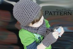 Basic 3 Pc. Set  Kid Mitts Hat & Scarf Crochet by MouseAndThimble, $4.25