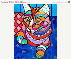 50 off  Cat Art   Ginger Orange Tabby Cat Folk by HeatherGallerArt, $14.00