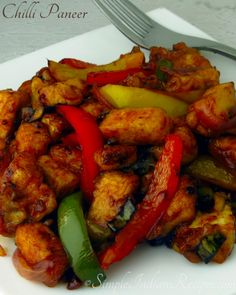 Chili Paneer Recipe, Paneer Chilli Dry, Paneer Recipes, Easy Indian Recipes, Ethnic Recipes, Capsicum Recipes, Paneer Dishes, Vegetarian Side Dishes, Sweet Chilli