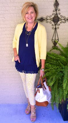 50 IS NOT OLD | SUNNY & BRIGHT | Transition Outfit | Blue & Yellow | Fashion over 40 for the everyday woman