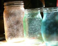 """Modge Podge glass to make """"lanterns""""... so cool.  Could be a nice library craft or gift or decoration for home.  http://gingerbreadsnowflakes.com/node/169#"""