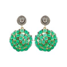 Kastur Jewels White Sapphire and Green Onyx Earrings