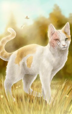 Brightheart- one of the most loyal and beautiful cats in ThunderClan. Warrior Cats Series, Warrior Cats Books, Warrior Cats Fan Art, Animals And Pets, Cute Animals, Serval Cats, Warrior Cat Drawings, Beautiful Cats, Beautiful Artwork