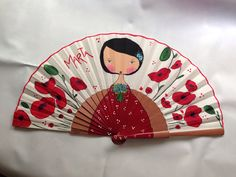 En rojos y amapolas .... Hand Held Fan, Hand Fan, Painted Fan, Hand Painted, Crafts To Sell, Diy And Crafts, Vintage Fans, Beautiful Hands, Antiques