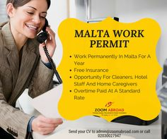 Job Opportunities for Malta send us your CV to admin@zoomabroad.com