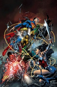 DC Comics writer and CCO Geoff Johns and artist Ivan Reis spoke with CBR about 'Justice League,' the Wonder Woman/Superman relationship, the new Green Lantern and what lies ahead for Aquaman in Aquaman, Comic Book Heroes, Comic Books Art, Comic Art, Comic Pics, Catwoman, Superman, New Justice League, Hq Dc