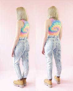 Jeans taille haute lavage acide des années 90 par la par ACTUALTEEN