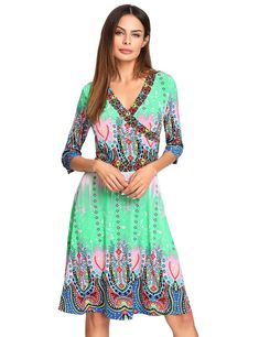 Milumia Women's Bohemian Sleeve Faux Wrap Maxi Dress - best woman's fashion products designed to provide 15 Dresses, Women's Fashion Dresses, Dress Outfits, Summer Dresses, Woman Dresses, Pop Fashion, Fashion News, Womens Fashion, Plunge Dress