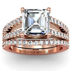 Asscher Split Band Engagement Ring Wedding Set - One of the most beautiful matching sets on the market is this splendid 14K Rose Gold Asscher Split Band Engagement Ring Wedding Set placed within a Pave setting featuring a 2 carat White Asscher cut center stone on top of a very thick split shank with 51 White Round accent sides stone