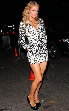 Paris Hilton.. DVF Prita Printed Silk Dress, and Christian Louboutin Bianca Platform Pumps..
