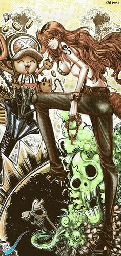 One Piece - Nami, Brook, and Chopper