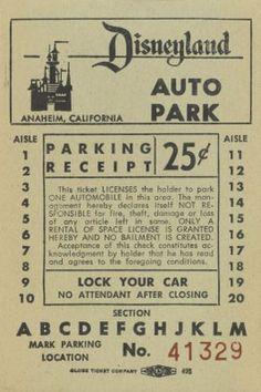 vintage disneyland parking ticket - only .25 cents!