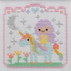 Unicorn cross stitch. Completed cross stitch. Unicorn nursery decor. Framed…