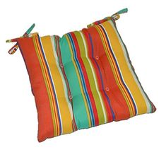 Indoor / Outdoor Coral Yellow Turquoise Green Bright / Colorful Stripe Universal Tufted Seat Cushion with Ties for Dining Patio Chair Choose Size 17 x 15 -- More info could be found at the image url. (This is an affiliate link) 0 Wall Seating, Patio Seating, Patio Chairs, Outdoor Cushions, Seat Cushions, Yellow Turquoise, Indoor Outdoor, Outdoor Decor, Size 16