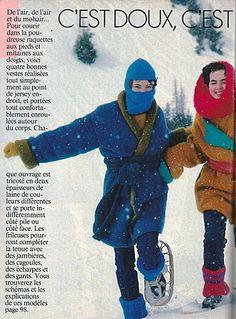 Cagoule, manteau, gants, jambières, snood  mohair : j'en avais fait une partie à l'époque