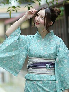 utataneさんの着物・浴衣「utatane utatane 高級変わり織り浴衣3点セット リネン麻混・ミント麻の葉ノスタルジカ」を使ったコーディネート