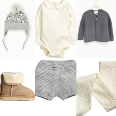 Adorable autumn or winter baby girl outfit from Zara and H&M. Grey and white shorts, cardigan, tights, ugg boots