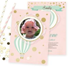 This vintage First Birthday invitation comes adorned with whimsical mint green hot air balloons, faux gold confetti and your little girls photo over a