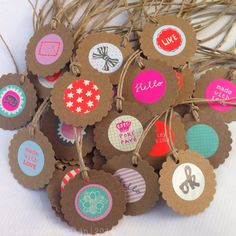Whole bunch of kraft gift tags with Hema stickers. Inspired by Anne Copier.