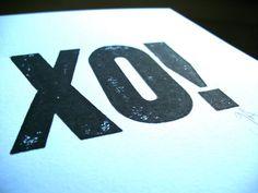 LETTERPRESS PRINT  XO black valentine typography by thebigharumph, $20.00