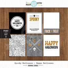 3x 4 Printable Happy Halloween Journal Cards by ShopStudioPebbles