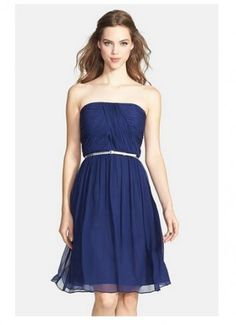 NWT $189 Donna Morgan 'Donna' Blue Chiffon dress size 0. On sale for only $89!