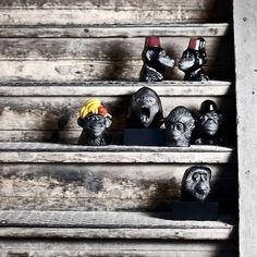 Monkey Business - casted crystal sculptures handmade at Målerås Glassworks. Design Ludvig Löfgren