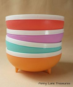 Vintage Therm-O-Ware Bowls ~ Bolero ~ 1960 ~ Insulated ~ Unbreakable  ~ Stain Resistant ~ Salsa ~ Ice Cream ~ Pastels