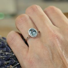 Halo Diamond and Aquamarine Engagement Ring in 14k White Gold 9x7mm Oval Aqua Ring (Bridal Wedding Ring Set Available)