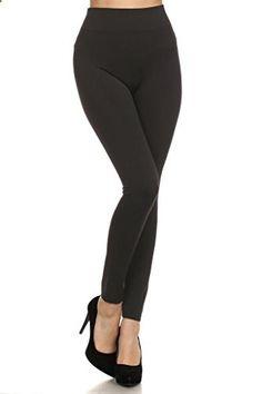WHITE APPAREL Women Seamless Full Length Plus Leggings  BLACK  Go to the website to read more description.