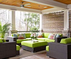 coffee tables, outdoor rooms, wicker furniture, patio, deck, outdoor spaces, bamboo shade, natural beauty, covered porches
