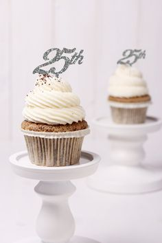 Silver Glitter 25th Anniversary Cupcake Topper- (S116) by ChicagoFactory! Find it now at http://ift.tt/25mYWYF!
