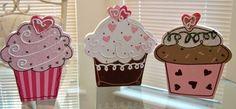 cupcake wooden blocks      i have these   hobby lobby valentine