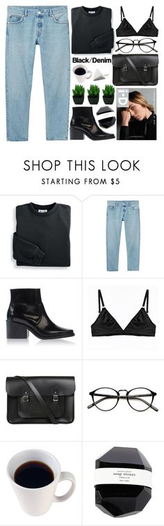 """""""black/denim - THANK YOU FOR 200K!"""" by evangeline-lily ❤ liked on Polyvore featuring Blair, Monki, Acne Studios, Alasdair, The Nude Label, The Cambridge Satchel Company, black, denim, acne and 2016"""
