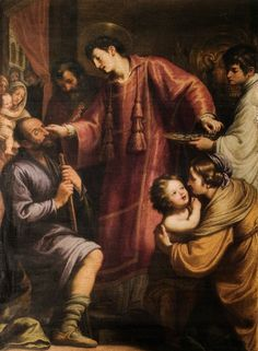 Matteo Rosselli  (1578.1650),  San lorenzo che distribuisce i beni della Chiesa ai poveri e risana un cieco,   Matteo Rosselli  (1578–1650), chiesa dei Santi Michele e Gaetano, Firenze
