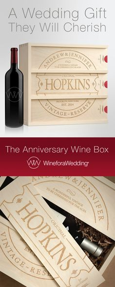 Personalize this unique wine box with their names, established year and location they were wed or reside. Makes a wonderful wedding gift to be cherished for the ages!