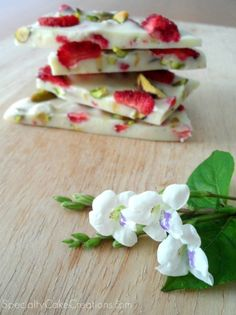 White Chocolate Bark with Strawberries and Pistachios