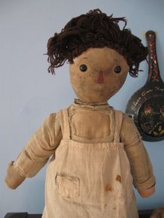 """Early Antique Volland 16"""" Raggedy Ann Cloth Doll from ragbabytextiles on Ruby Lane"""