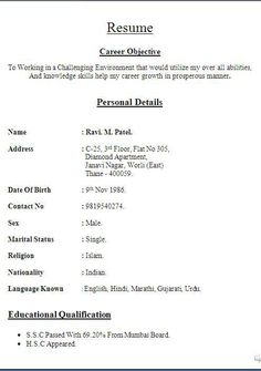 Cv Resume Template  Google Search  Resume