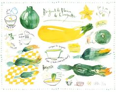 Kitchen print of Zucchini flower fritters recipe 8X10 poster Vegetable art Watercolor Botanical Food illustration Green Yellow. $25.00, via Etsy.