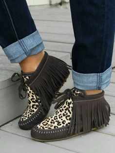 brown leopard hair on fringe moccasins.