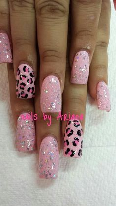 Pink polish is undoubtedly one of the most cute and girly option for manicure. Especially our days when baby pink nails decorated with rhinestones, studs French Nails, French Acrylic Nails, Leopard Nail Art, Leopard Print Nails, Leopard Prints, Gorgeous Nails, Fabulous Nails, Pink Nails, My Nails