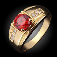 2017 Thời Trang New red Garnet Nam Trang Sức tendy AAA zirconia đá Men Đảng Nhẫn cưới R057