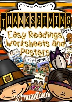 """I added """"THANKSGIVING ( READY TO PRINT EASY READINGS, WORKS"""" to an #inlinkz linkup!http://www.teacherspayteachers.com/Product/Thanksgiving-Ready-to-Print-Easy-Readings-Worksheets-and-Posters-1531379"""