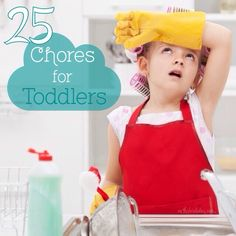An extensive list of chores that your toddler can do on their own and with some supervision to help around the house.