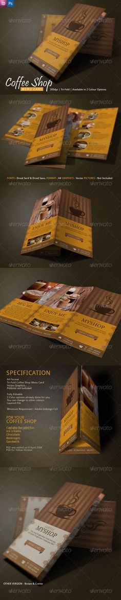 Coffee Brochure Design Tri-Fold Tri fold, Brochures and Coffee - coffee shop brochure template